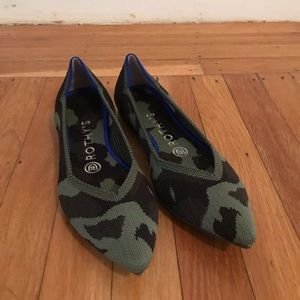 Rothy's Olive Camo Point Toe Shoes
